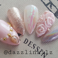 Dreamy princess pink 3D and Holographic Glitter nails/Press on nails/Fake nails/False nails/Faux nails/Glue on nails/Nail art/Fancy/cute