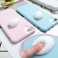 KISSCASE Squishy Phone Case For iPhone 7 6 6s Plus 3D Cute Phone Cover Soft Silicone Marshmallow Cases For iPhone 5 5S SE Shell