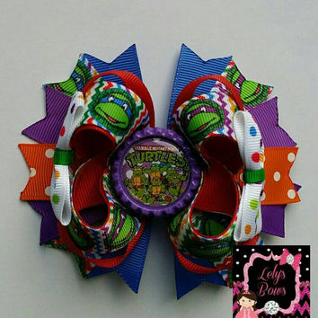 Teenage Mutant Ninja turtles inspired Stacked Boutique Hair Bow, Teenage Mutant ninja turtles hair bow, teenage mutant ninja turtle bow