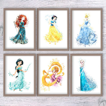 Disney watercolor print Disney princess set of 6 Disney princess art poster Home decoration Wall hanging decor Nursery room wall art V122