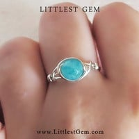 Blue Agate Ring - unique rings - custom