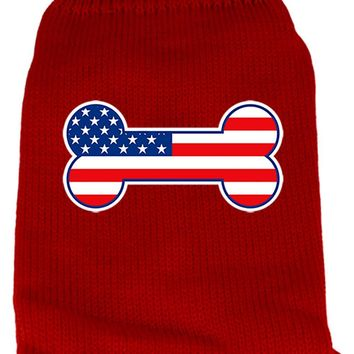 Bone Flag Usa Screen Print Knit Pet Sweater Lg Red large
