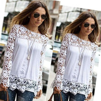 New Ladies Summer Chiffon Shirt Slim Long Hollow Embroidery White Lace Sleeves Loose Blouse Casual O-neck Women Tops KH657330