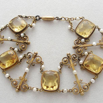 Turn of the Century Jewelry: Beautiful Antique Art Nouveau Styled Bracelet with Lemon Citrines and Baroque Pearls