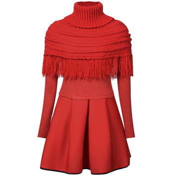 Long Sleeve Pleated Dress with Turtle Neck Poncho Set