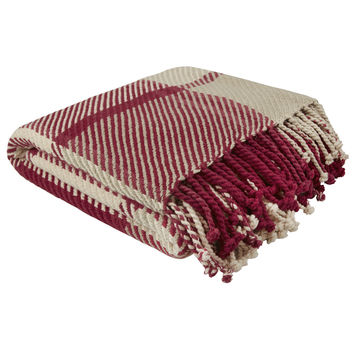 Dylan Cranberry Check Cotton Throw