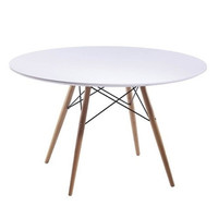 "Modern Wood Leg Dining Table Fiberglass Top White 29""-48"""