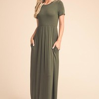 Picture Perfect Short Sleeve Maxi Dress - Olive - Pre-order Ships Tuesday 8/1