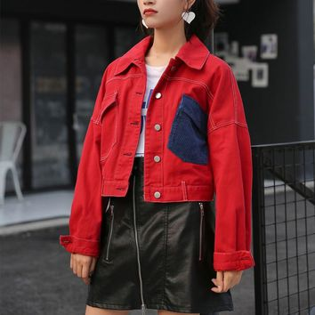 Cheerart Cropped Red Jacket Women Color Block Short Denim Jacket Autumn 2018 Jeans Jacket Femme Trending Products