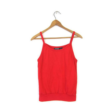 80s Red Spaghetti Tank Top Cropped Scoop Neck Tank 1980s Basic Tank Crop Top Plain Red Tee Hipster Vintage Womens XS Small
