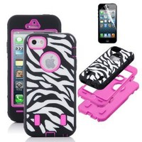 Pandamimi ULAK Rose Pink White Zebra Combo Hard Soft High Impact iPhone 5 Armor Case Skin Gel with screen protector