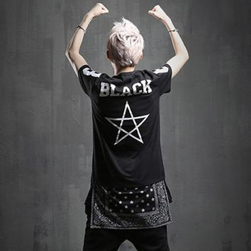 Men bandana patchwork hip hop t shirt punk rock swag clothes men harajuku hiphop dance long tee shirt nightclub DJ stage coatume
