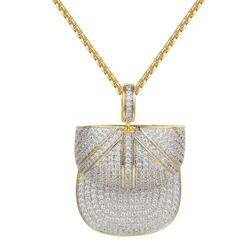 14k Gold Finish Iced Out Cap Hat Pendant Free Chain