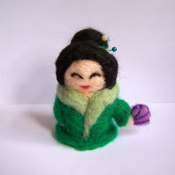 Needle Felted Geisha Miniature Felted Cute by Knittynudo on Etsy