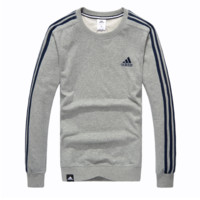"""Adidas"" Letter and Logo Print Long Sleeve Sweater Grey"