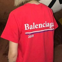 Balenciaga New Fashion Women Men Casual Back Letter Logo Print Short Sleeve Round Collar T-Shirt Top I-AA-XDD