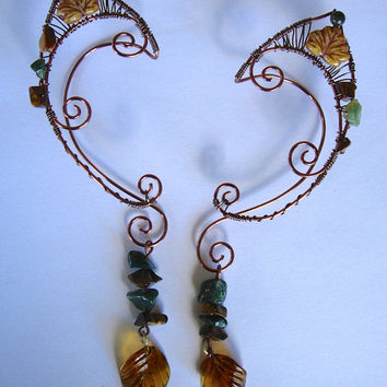 Pair of Antique Brass Woven Wire Elf Ear Cuffs with Moss Agate, Tiger Eye, and Leaves, Renaissance, Elven Ears, Halloween Costume Earrings