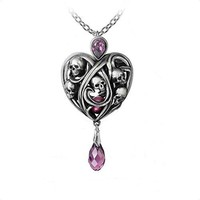 Alchemy Gothic Keepers of Tyrian Skull Heart Necklace