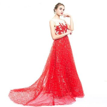 Red Sequined Long Evening Dress Bling Luxury Crystal Appliques Sleeveless Prom Dress