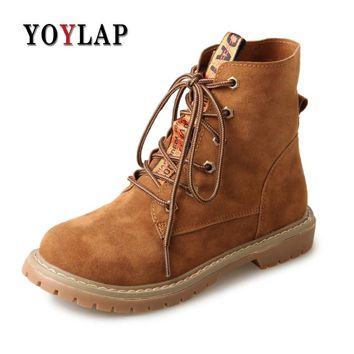 YOYLAP 2018 Women's Doc Dr Martins Shoes Spring autumn Women Ankle Boots Flat Heel shoes for female Dr. Martens Boots
