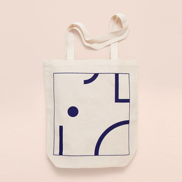 BLUE SHAPES - Screen printed canvas fair trade eco-tote bag