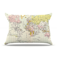 "Catherine Holcombe ""Travel"" World Map Pillow Case"