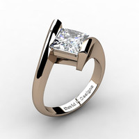 Modern 14K Rose Gold 2.0 Ct Princess Square White Sapphire Kite Setting Engagement Ring R1031-14KRGWS