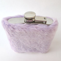 Pastel Kawaii Faux Fur Hip Flask Case, Furry 6 oz Flask, 21st Birthday, Bridesmaids, Maid of Honor, Sorority, Wedding
