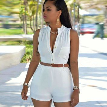 Women High Waist Deep V-Neck Casual Sleeveless Bodycon Ladies Short Pants Overalls Belt Plus Size Tunic Solid Playsuits