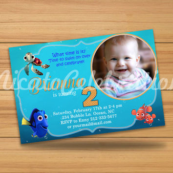 Finding Nemo Custom Photo Design Invitation - Digital File