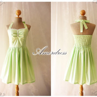 Lime Spring Dress Lime Green Dress..SIZE S..Wedding Party Dress Vintage Inspired Halter Neck  White Polka Dot White Lace Once Upon a Time