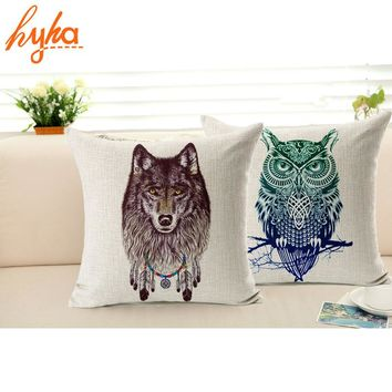 Pillowcase Owl Lion Wolf Animal Cotton Linen Cushion Covers Home Decorative Pillows Bedroom Euro Pillow Cover Free Shipping