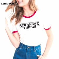 XUANSHOW 2018 T shirt for Women STRANGER THINGS Letters Printed Female Cotton T-shirt Tees Tops Summer Style Camiseta Mujer