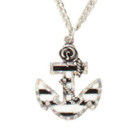 LOVEsick Black And White Stripe Anchor Necklace