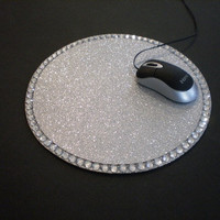 SILVER GLITTER & BLING Mousepad - sparkling silver w/ clear rhinestones