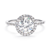 Greenwich Ceremony Collection Round Micropave Diamond Halo Engagement Ring
