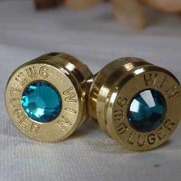 Bullet Earrings. December Birthstone . Blue Zircon . 9mm Luger. FREE SHIPPING