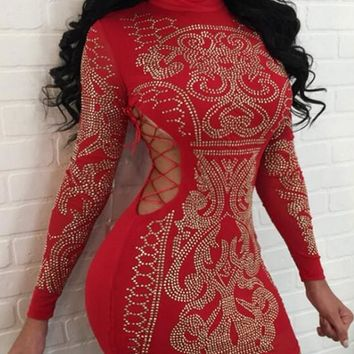 Red Cut Out Drawstring Bodycon Studded Open Side Prom Evening Party Mini Dress
