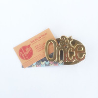 Vintage Brass Memo Clip, Brass At Once Note Clip, Brass At Once Paperclip Desk Accessory