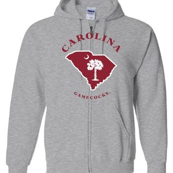 Official NCAA University of South Carolina Fighting Gamecocks USC COCKY SC Map Basic Zip Hoodie - UAXSC