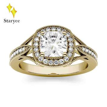 Test Positive 6mm 1.1ctw DEF VS Round Double Halo Engagement Moissanite Lab Diamond Ring wedding Band Jewelry in 18K Yellow Gold