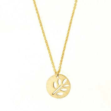 Minimalist Life Tree Pendant Necklace Vintage Hollow Leaf Round Circle Necklace Women Choker Stainless Steel Best Friend Gifts