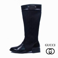 GUCCI Women Fashion Leather Tube in Boots Flats Shoes