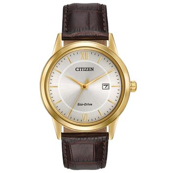 Men's Citizen Eco-Drive Straps Brown Leather Ivory Dial Watch