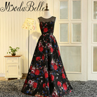 Modabelle Sexy Black Tulle Long Prom Dresses 2017 Red Flowers Pattern Formal Party Gala Dress Sleeveless Floral Evening Gowns