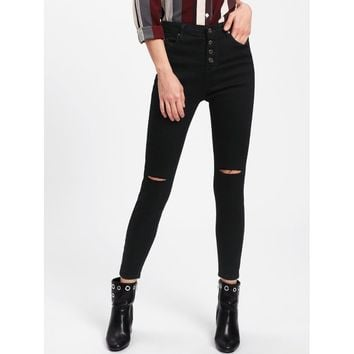 Knee Rips Button Front Jeans