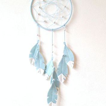 Bohemian Nursery Decor, Baby Blue Dream Catcher, Dream Catcher Wall Hanging, Pastel Blue DreamCatcher, nursery wall decor