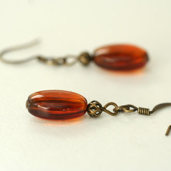 earrings / amber glass earrings / burnt orange earrings / antiqued brass handmade dangle earrings / warm colors / made in usa / shagbark