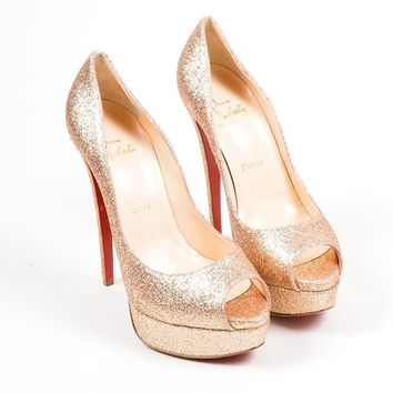 PEAPU2C Gold Glitter Christian Louboutin Lady 150mm Peep Toe Platform Pumps