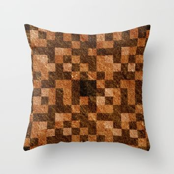Brown Rock Pixel Pattern Throw Pillow by Likelikes   Society6